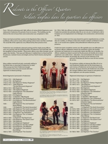 The Redcoats in the Square panel lists the military regiments that were posted in Fredericton between 1784 and 1869.