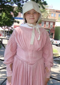 Spencer dress as Hannah Ingraham at the Fredericton Region Museum