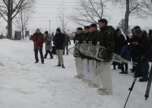 B Company, Recce Platoon Team competed in a snowshoe race from the St. Francis of Assisi Church in Lincoln to the newly named New Brunswick's 104th Regiment of Foot Bridge.  They ran the 10km in 1 hour, 20 minutes, and 40 seconds.