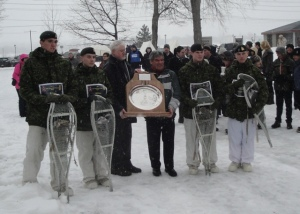 The trophy was presented by His Honour, Lieutenant-Governor Graydon Nicholas, in his role of Honorary Patron of the York-Sunbury Historical Society and Fred White, President of the York Sunbury Historical Society.