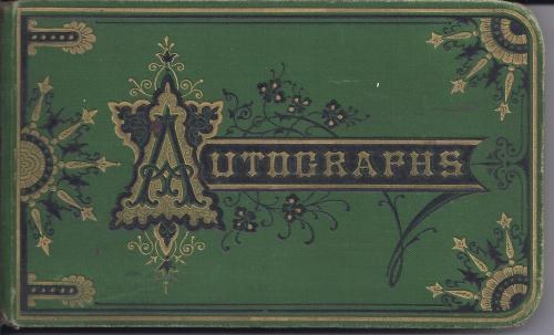 The cover of Jessie Hill's autograph book (1991.8.1)