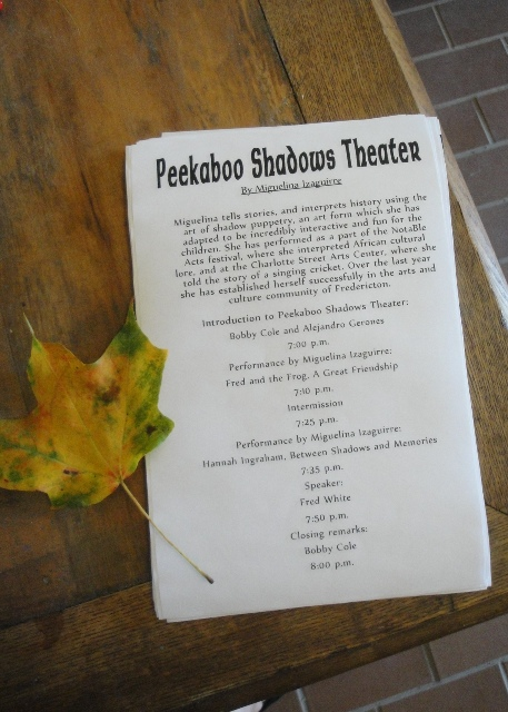 Peekaboo Shadow Theatre Show and Reception Program