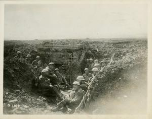 A German machine-gun emplacement of reinforced concrete on the crest of Vimy Ridge, and the Canadians who seized it