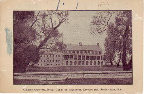 Vintage postcard featuring the Officers' Quarters located in downtown Fredericton.