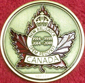 New Brunswick Great War Geocoin - Back