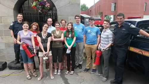 Fredericton Region Museum staff and volunteers after fire extinguisher training with the Fire Department, July 2015.